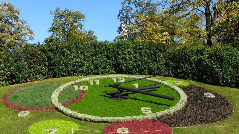 Цветочные часы в Английском саду, Женева