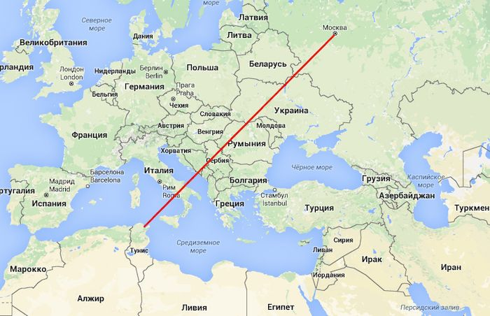 Москва - Тунис, маршрут рейса