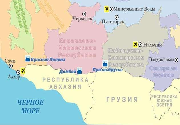 Домбай на карте