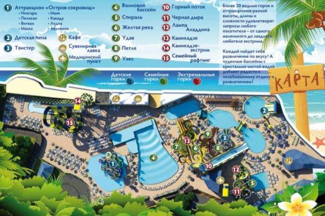 Схема аквапарка Золотой пляж