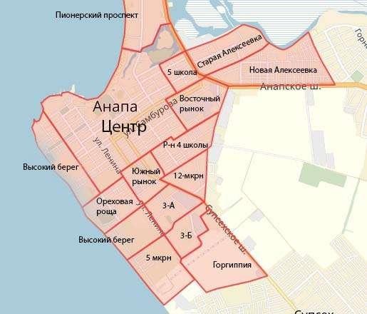 Карта районов Анапы