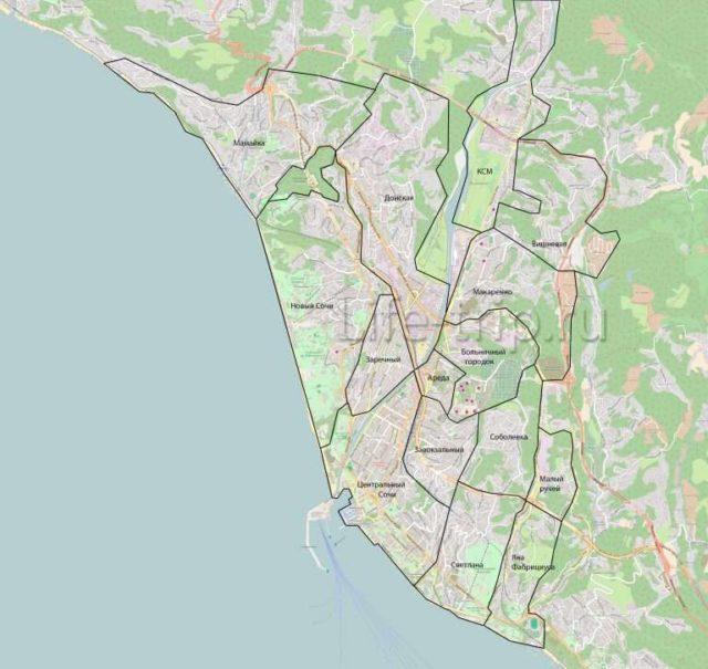 Карта микрорайонов Сочи
