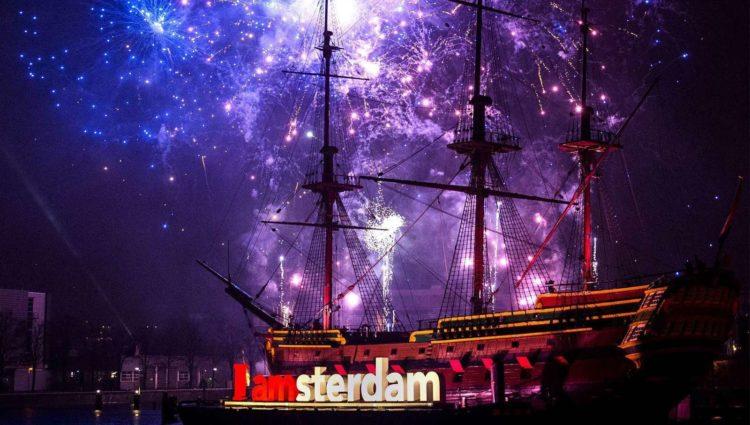 Салют на новый год в Амстердаме